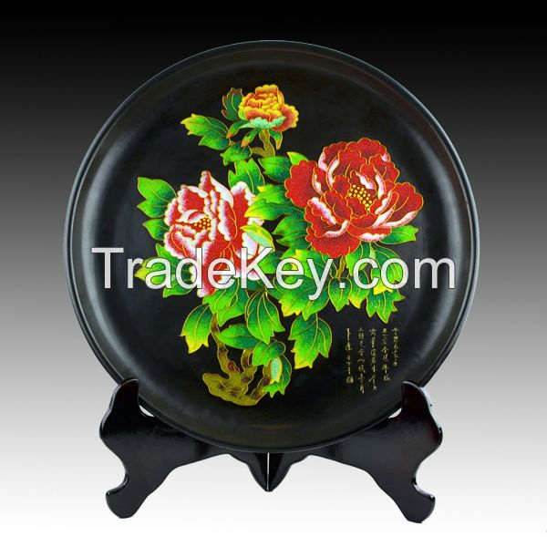 Gold Wire Black Pottery ceramic porcelain plate Peony for home decor