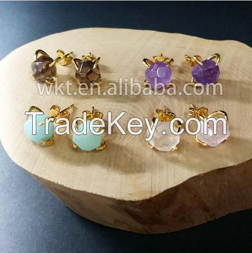 24k gold plated natural gemstone stud earrings