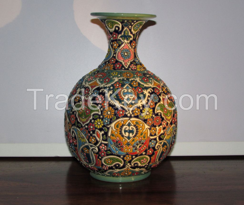 A stunning hand Enamel painted Earthenware Persian textures Vase