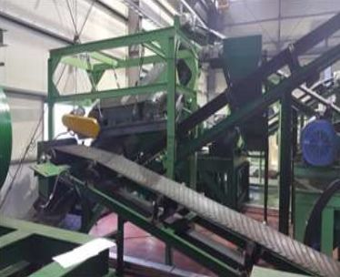 Old tire recycling plant for rubber chips and mat
