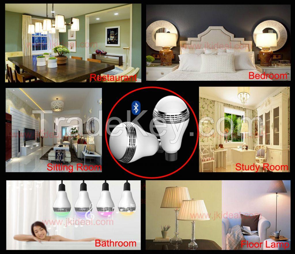 Smart wireless RGB e27 e26 Bluetooth led light bulb lamp speaker APP control