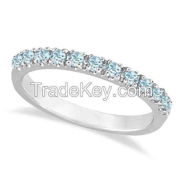 Aquamarine Stackable Ring Anniversary Band in 14k White Gold – Allurez