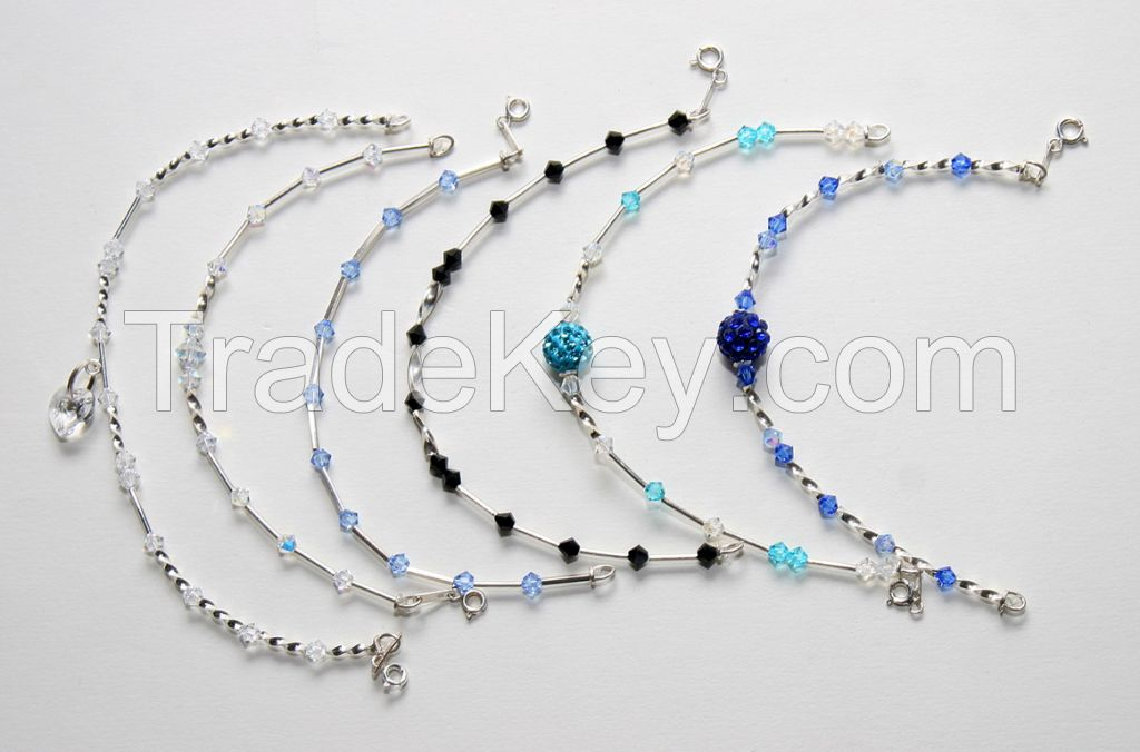 Sterling silver 925 beaded bracelets with crystals