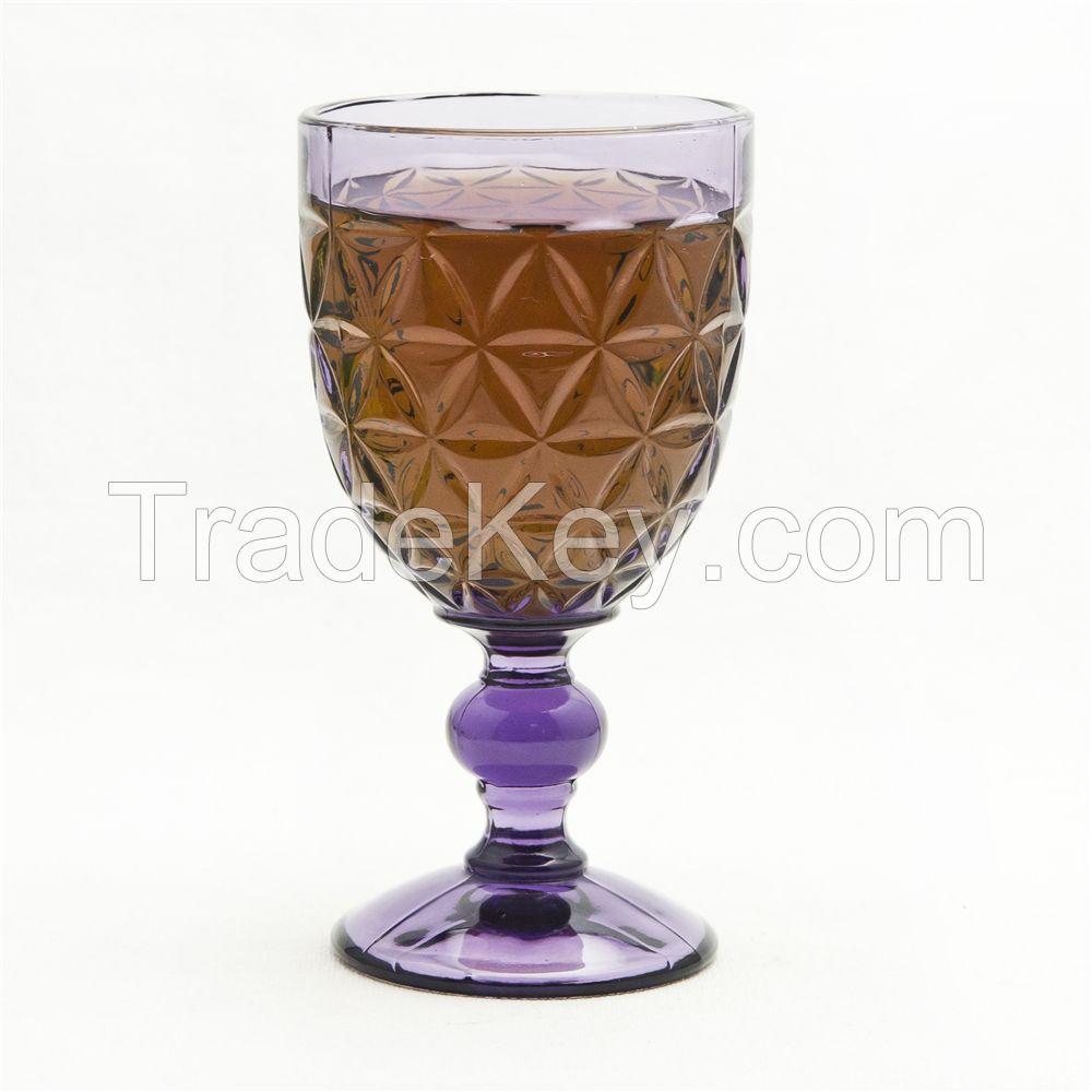 hand press sexfoil olive green goblet wine glass