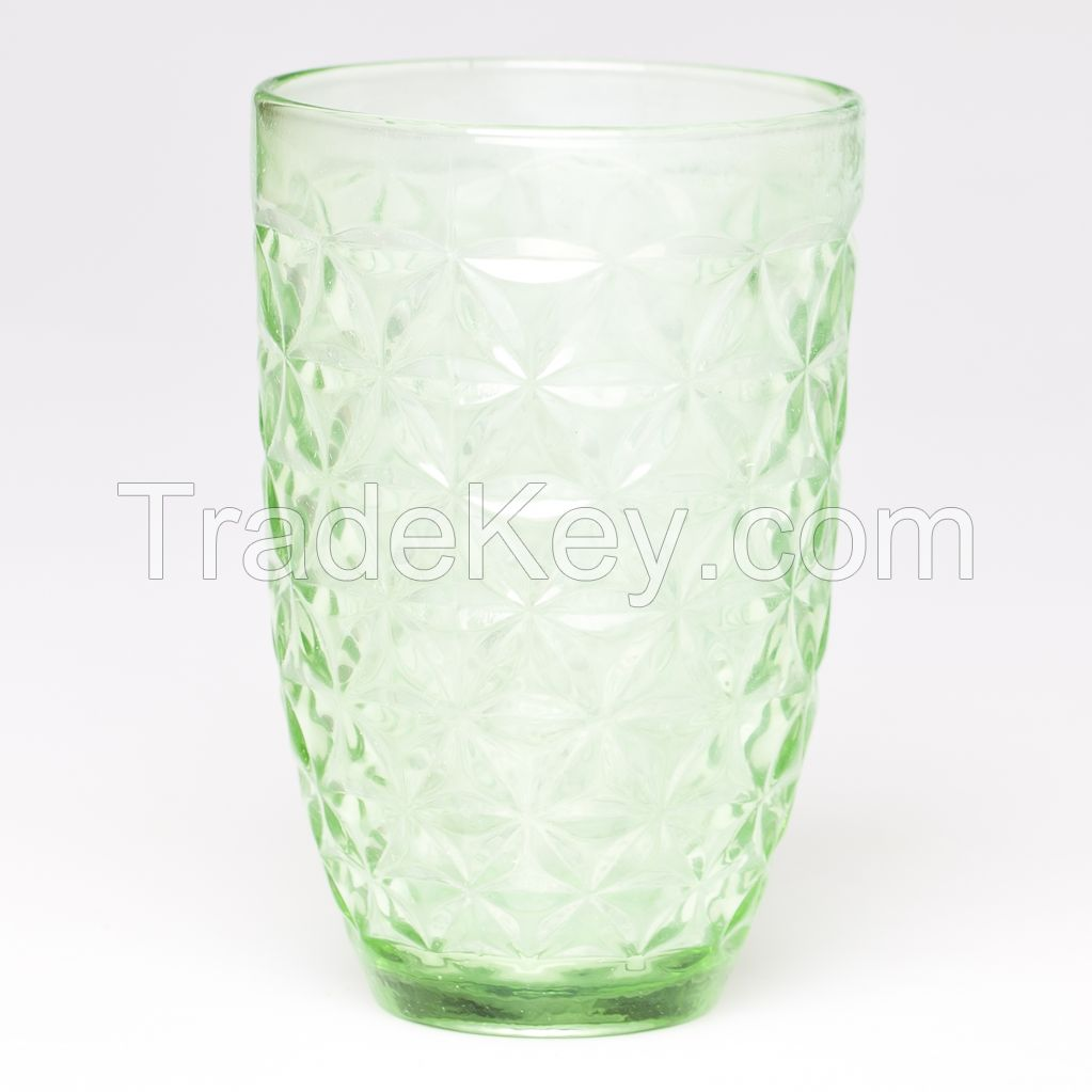 Textured Sexfoil Colored Cheap Water Drinking Glass Cup