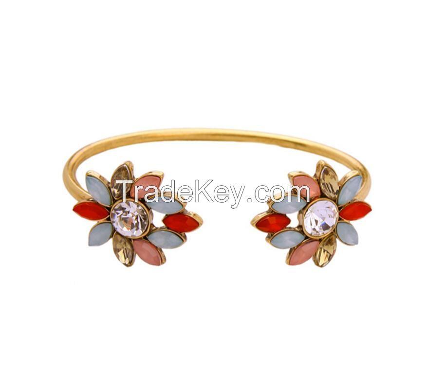 Candy Color Flower Cuff Bracelet