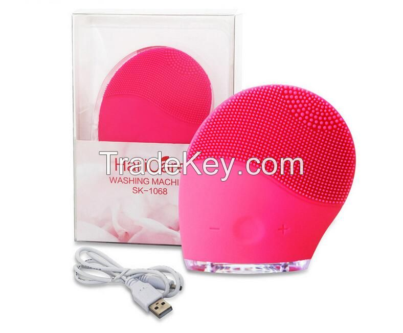 Electric Face Cleaner Vibrate Waterproof Silicone Cleansing Brush Mass