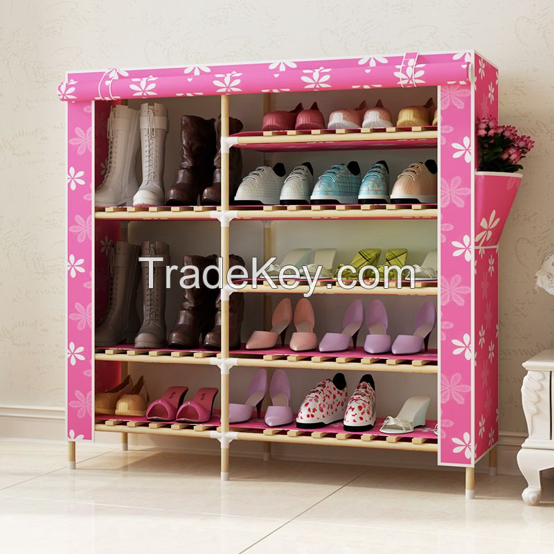 Latest Design Modern Simple Wooden Shoe Cabine convenient non-woven fabric shoe cabinet