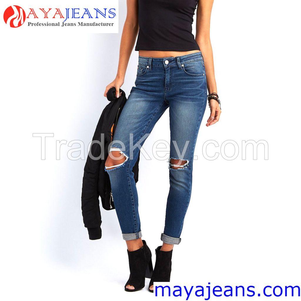 Women's Blue Denim Stretch Jeans Destroy Skinny Ripped Distressed Pants Maya Garment Co., Limited