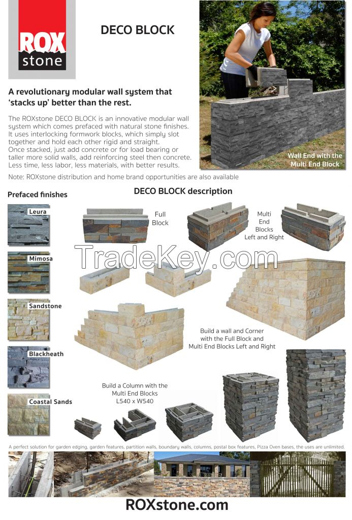 Deco block, Cement building block system with natural stone finishes