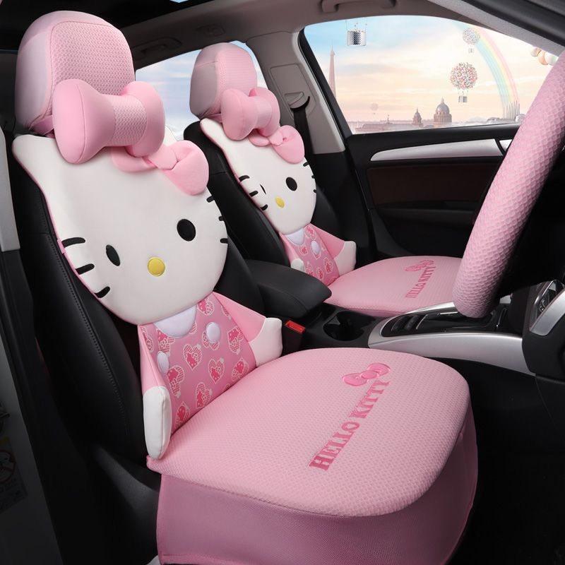 hello kitty cartoon ice silk girly  female car seat covers car seat cushions auto accessories