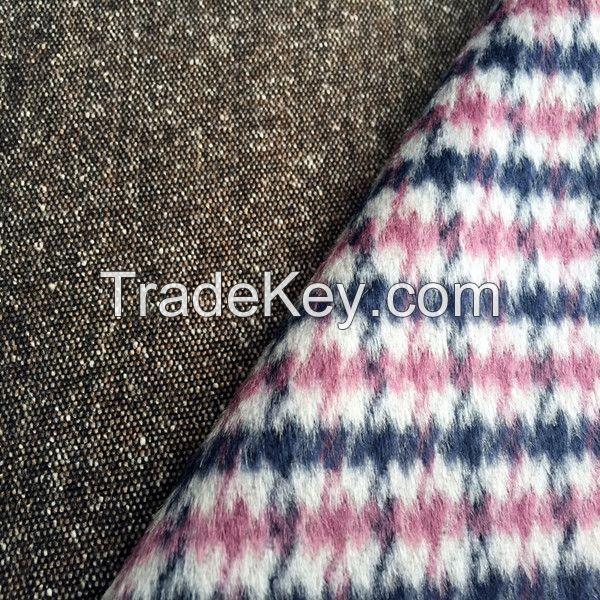 tweed woven wool fabric for winter overcoat
