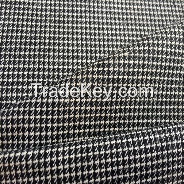 50% wool 50% polyester worsted houndstooth fabric for suiting
