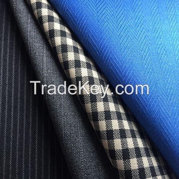 china supplier herringbone HBT tartan check stripe mixed polyester wool men suiting fabric