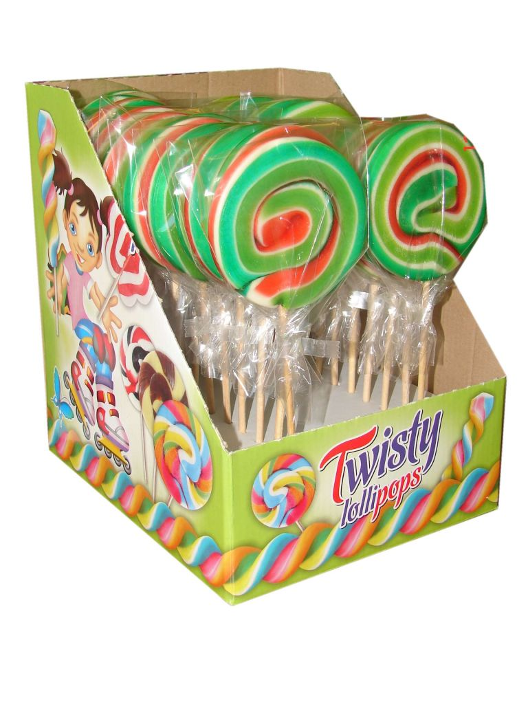 Hard candy twist lollipops 60g fruit flavour.