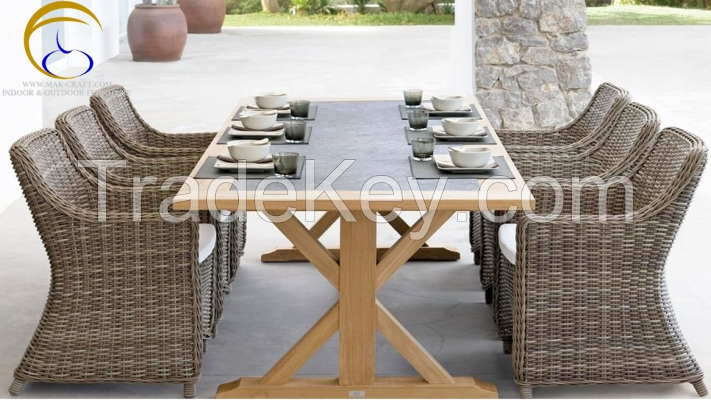 Poly Rattan PE PVC Dining Room Furniture - Resin Wicker Rattan Outdoor Dining Set Furniture