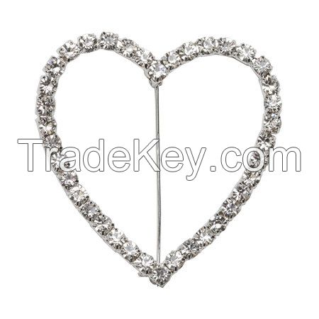 Small and Large Round Circle Or Heart Shape Crystal Rhinestone Buckle Invitation Ribbon Slider Silver/Golden