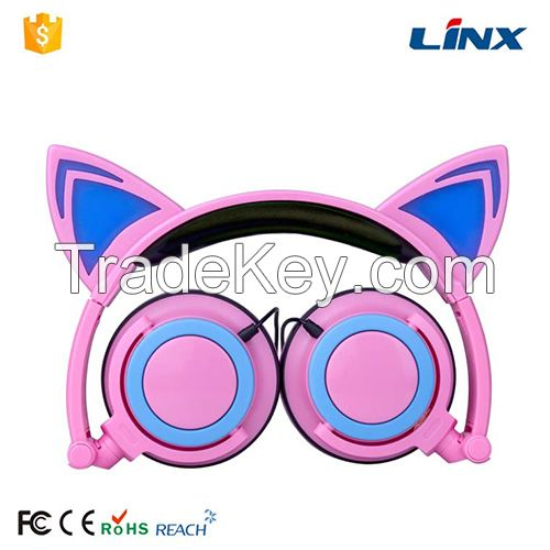 Headphone factory Hot selling Led glowing portable patent cat ear shaped wired headphone
