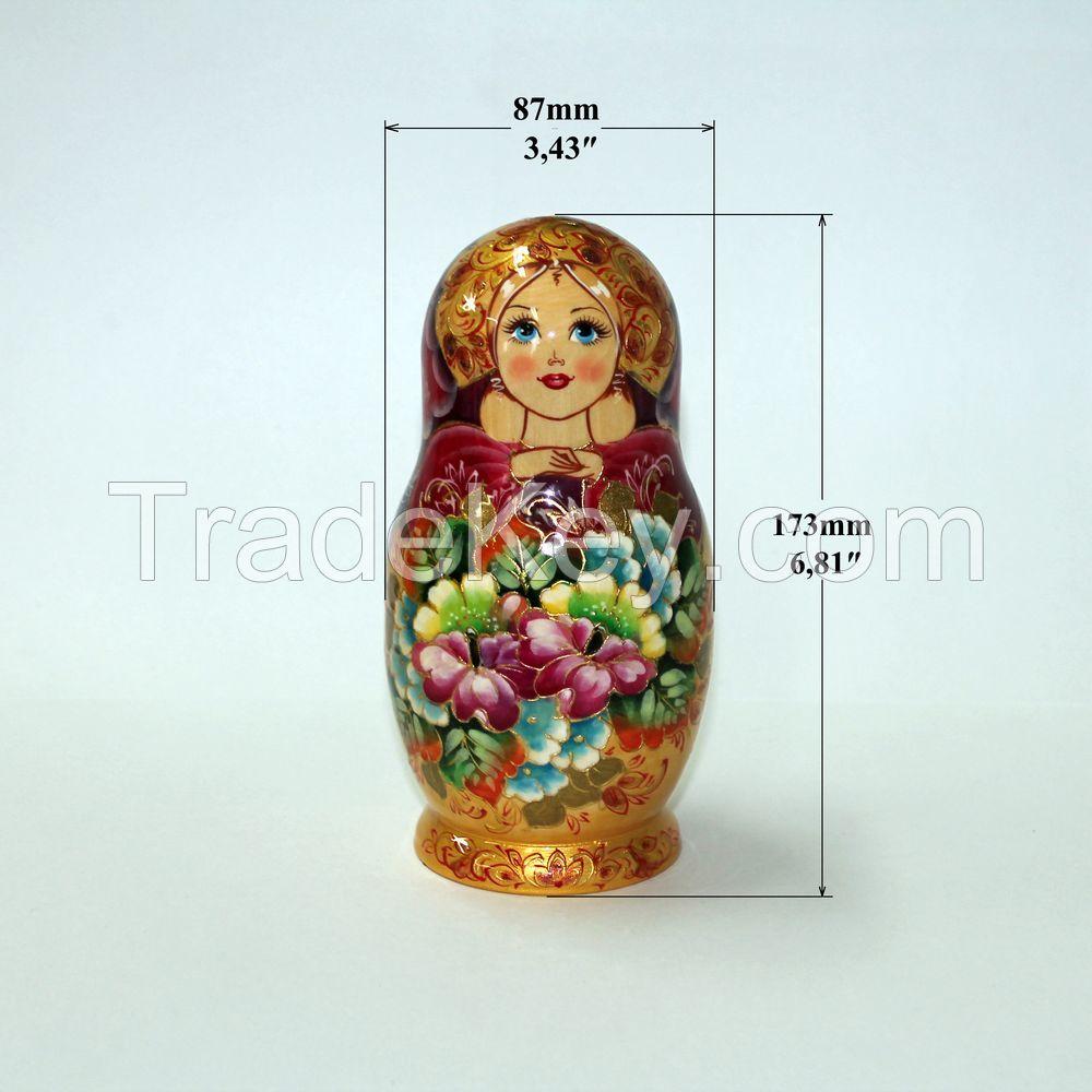 Matryoshka Russian Wooden Babushka Doll Handmade Nesting Dolls Art 5 Piece Set