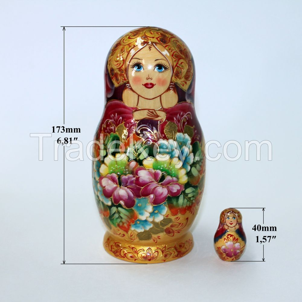Matryoshka Russian Wooden Babushka Doll Handmade Nesting Dolls Art 5 Piece Set