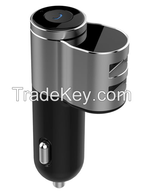 Newest products aluminum alloy wireless bluetooth headset with dual USB car charger