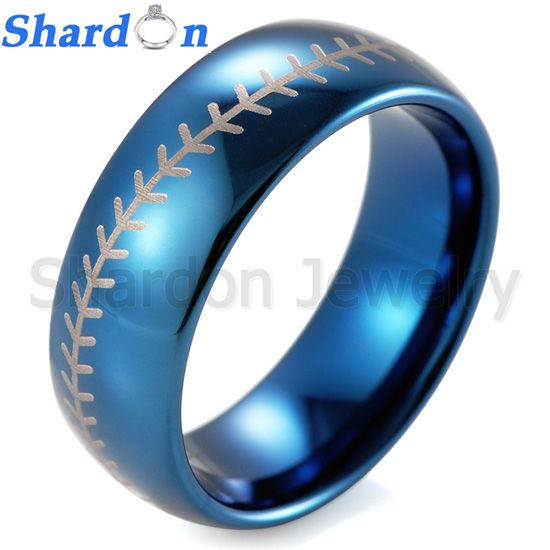 Men's 8mm Domed IP blue Tungsten Ring with Engraved Baseball Pattern