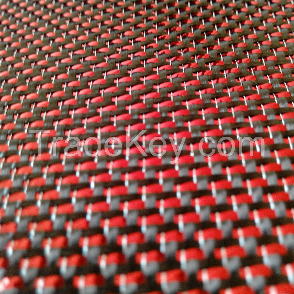 RED and silver Carbon fiber fabric/cloth,Metallic carbon fiber fabric 100cm wide