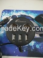 2 way Multi Socket Auto Car Cigarette Lighter Splitter  3 Ports USB Plug Adapter Charger