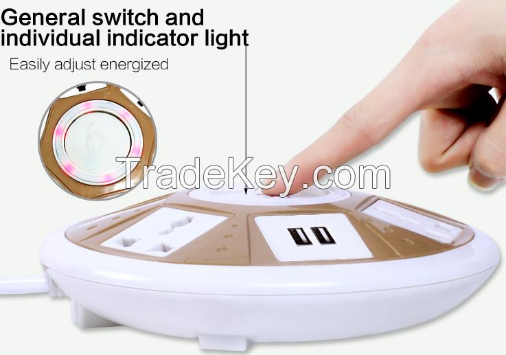multinational plug socket 6 gang 220V color electrical usb switch socket outlet with surge protector