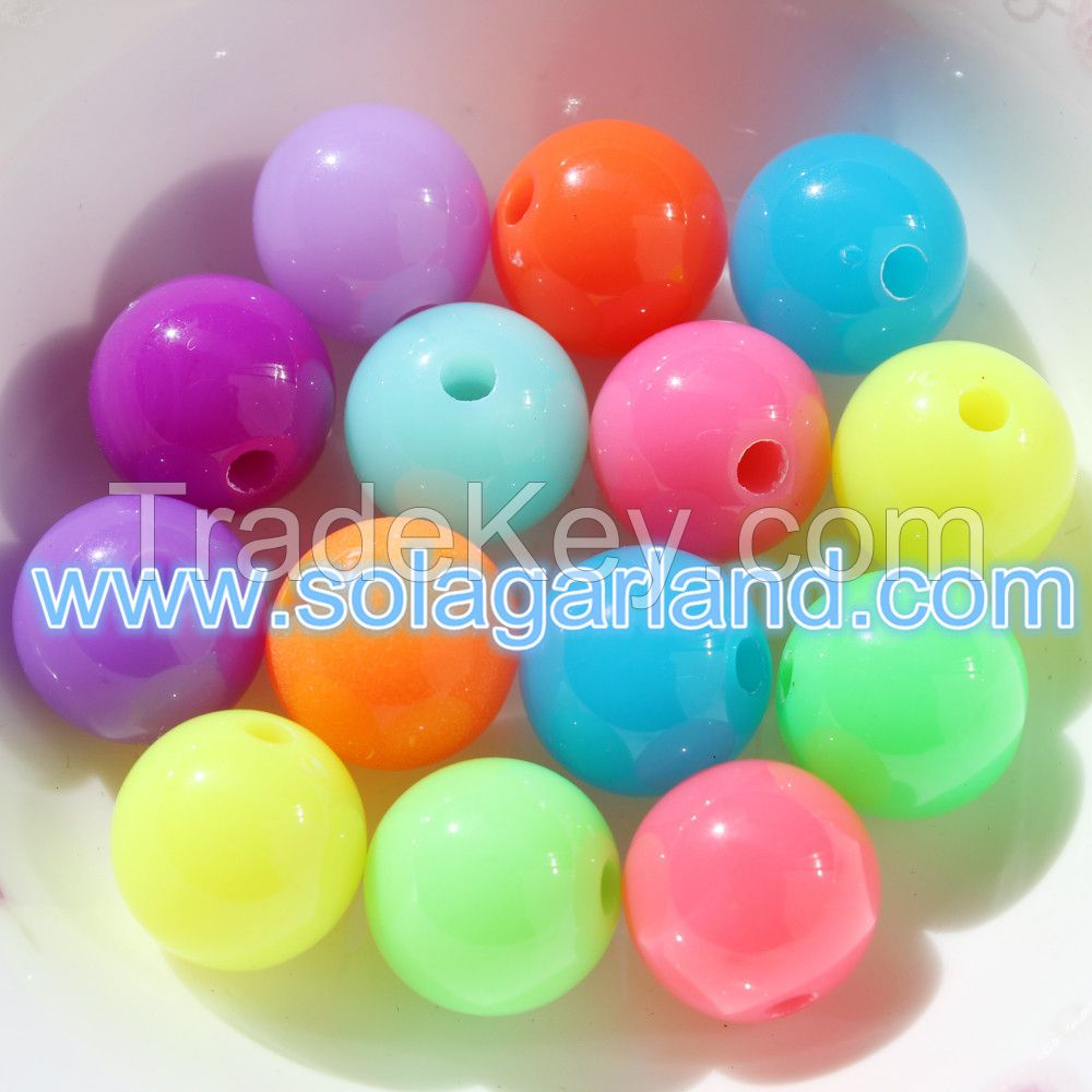 Wholesale 6-20MM Acrylic Fluorescent Beads Loose Spacer Beads Charms