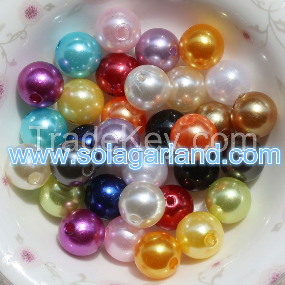 Hot Selling 4-40 MM Acrylic Imitation Pearl Beads Spacer Round Beads