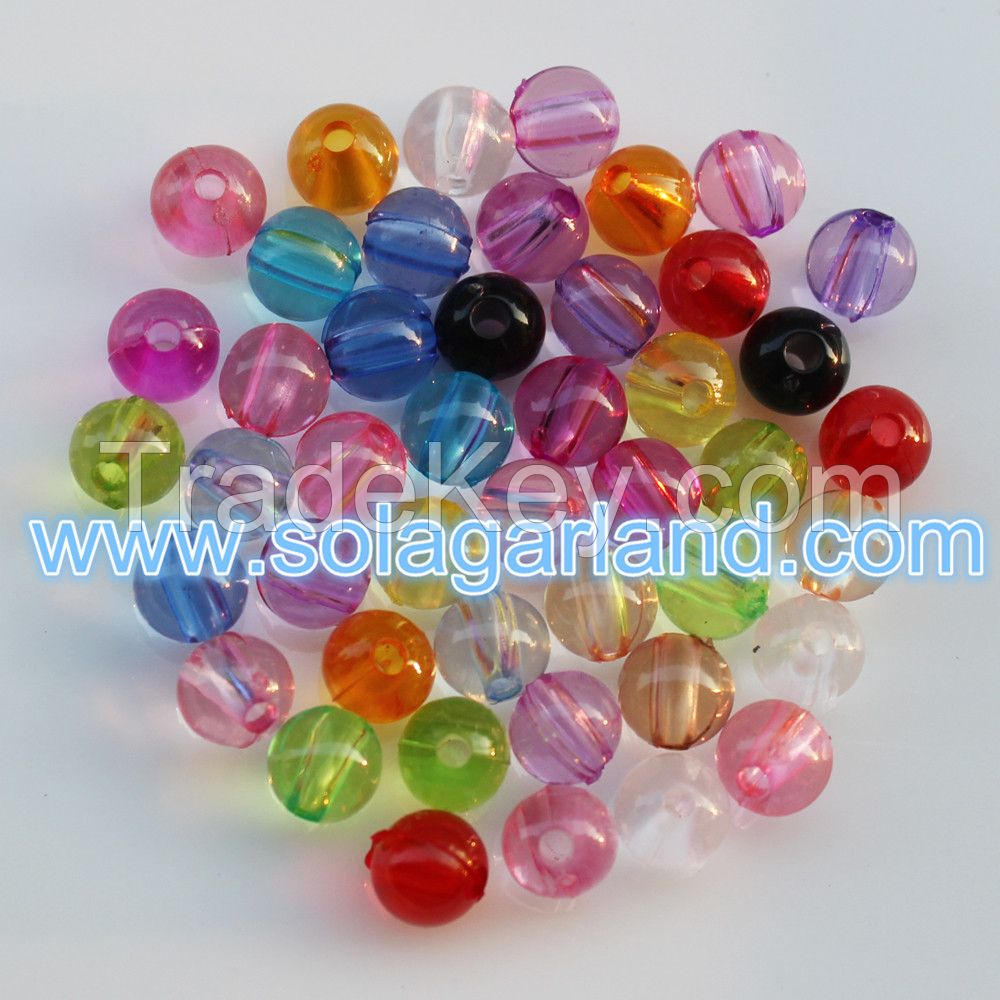 Wholesale Acrylic Crystal Round Beads Loose Spacer Plastic Beads