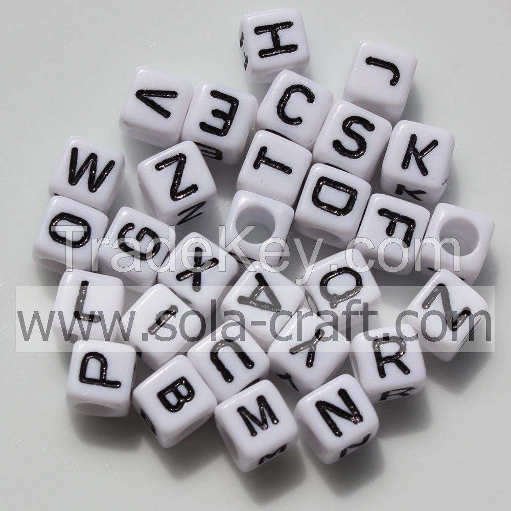 Wholesale Letters White Cube Plastic Acrylic Alphabet Spacer Beads