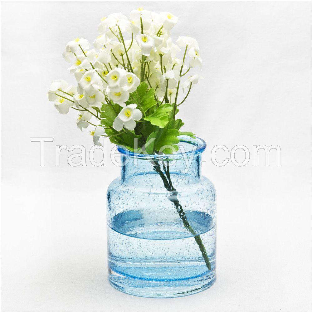 Home Decor Big Bottom Decoration Glass Vase Vintage