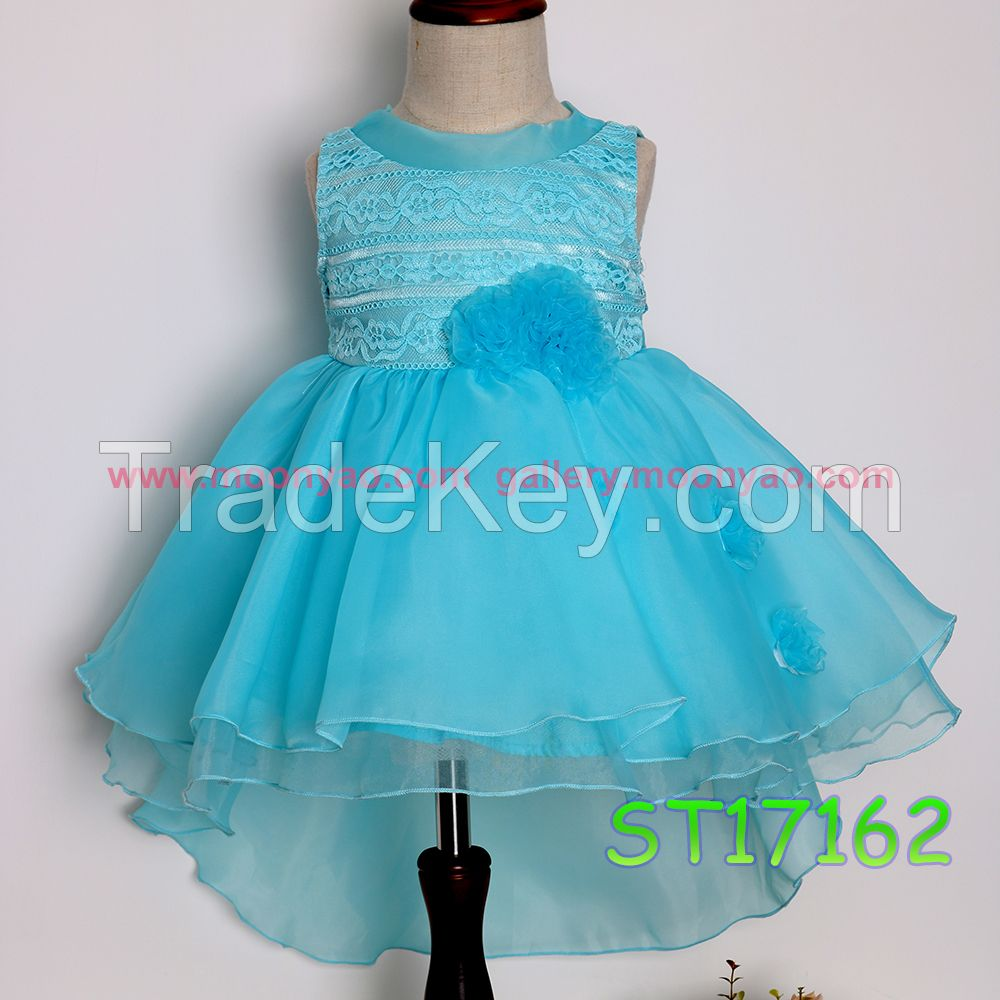 Fashionable Turquoise Organza Ruffle Flower Girl Dress for Wedding Party 2017