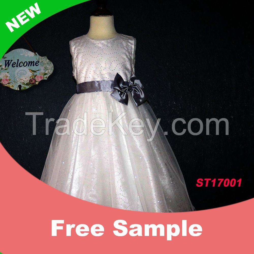 Latest White A Line Dress Sleeveless Appliqued Maxi Flower Girls Dresses 2017