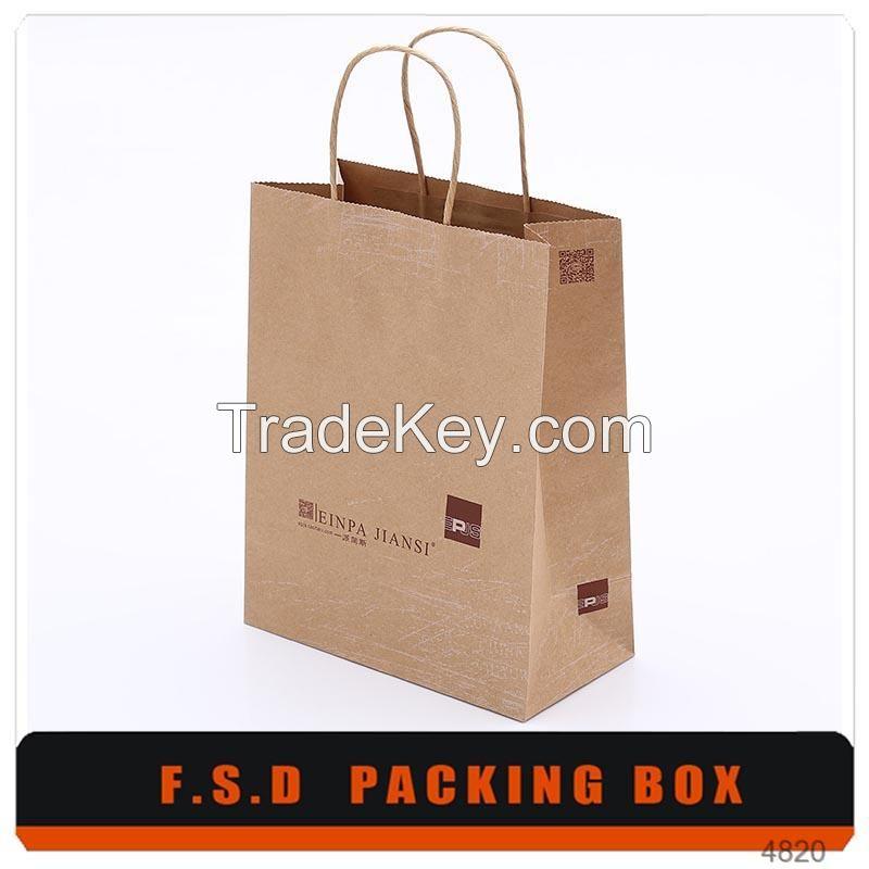 Free Design Logo Print Portable Paper Bag With Handle