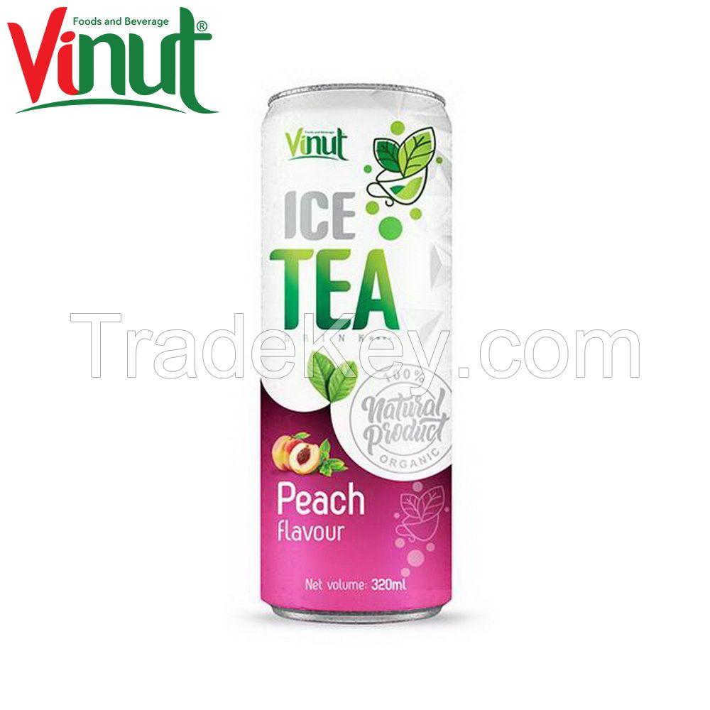 320ml VINUT 100% Nature Can (Tinned) ODM service Green iced tea Peach Original Staste Supplier Vietnam
