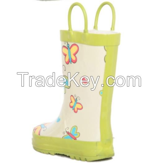 Kids butterfly rain boots, white and green and cheap rain shoes and comfortable and safty rain boots