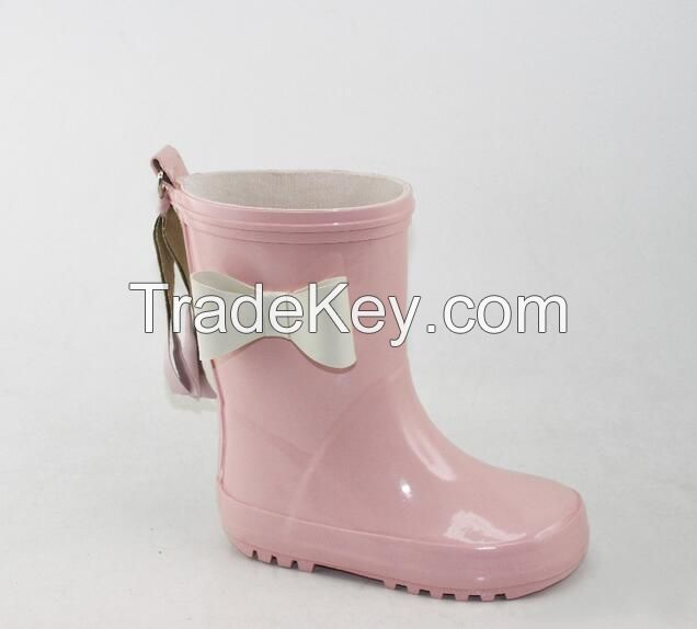 New 3D white bow pink girls rubber boots with tassels