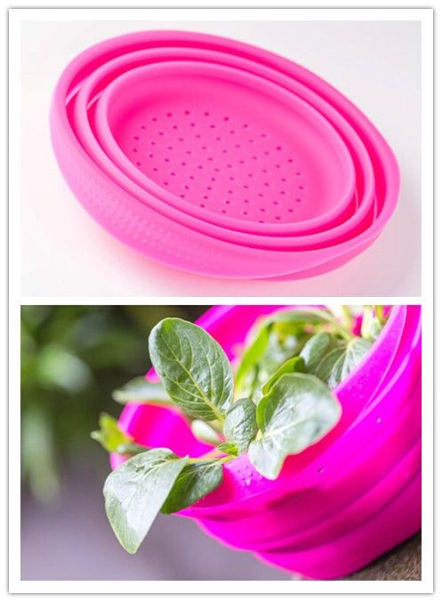 Silicon Rubber Washing Vegetable Strainer Foldable Atoxic FDA Ketchen Ware
