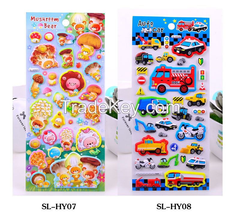 Excellent quality none-toxic custom animal design kids room decorated decor 3d foam puffy sticker for scrapbook