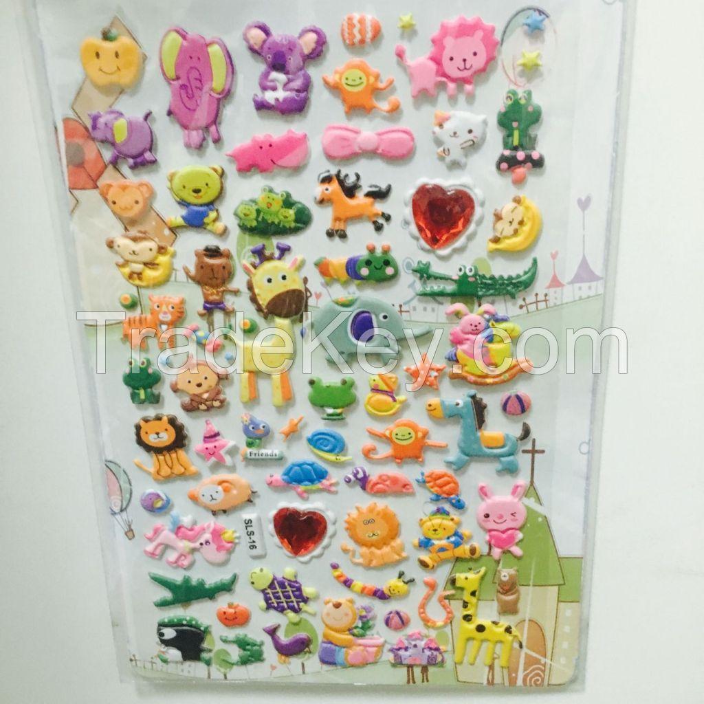 OEM quote full color printing children PVC 3d foam puffy sticker