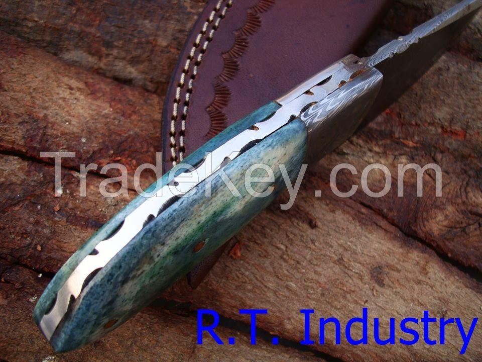 Damascus knife handmade skinner knife - Colored camel bone handle
