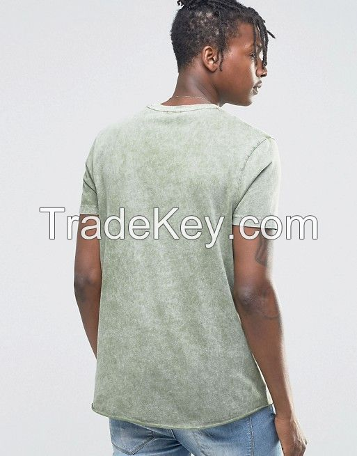 TUSK- Longline T-Shirt In Acid Wash Green