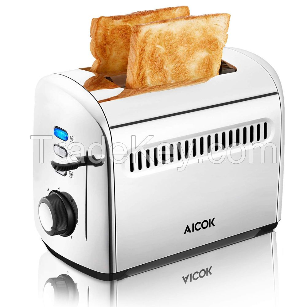 AICOK 2 Slice Electric Automatic Toaster Stainless Extra Wide Slot with Crumb Tray