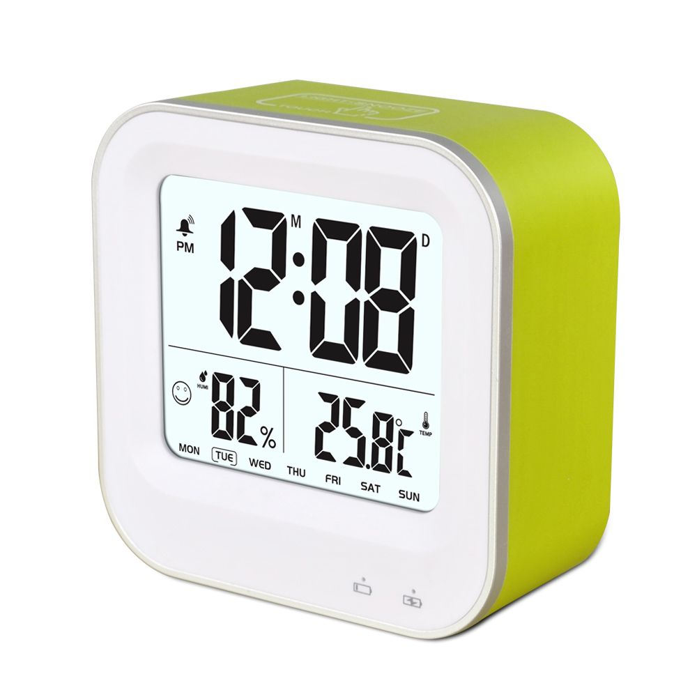 Multifunctional digital lcd temperature display touch snooze table calendar clock