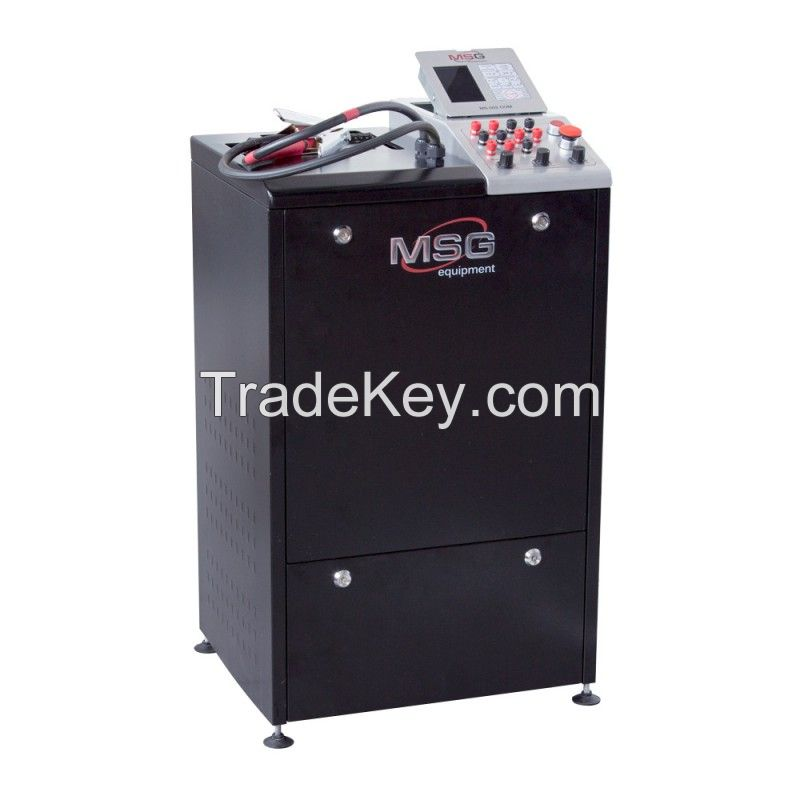 Test bench MSG MS002 COM for diagnostics of 12 V and 24 V alternators through load simulation of current consumers up to 200 A or 100 A, correspondingly