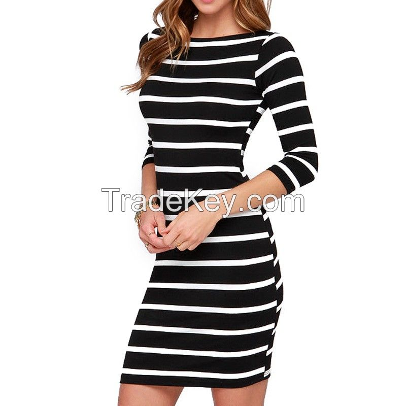 2016 New Spring Summer Round Neck Black and White Striped Dress