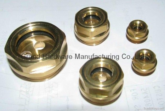 Brass oil level sight glass